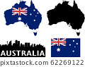 Australia map,flag and panorama of Sidney 62269122