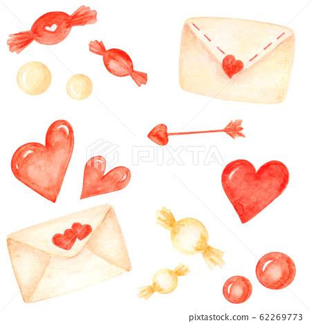 Watercolor love elements set. Valentines day elements 62269773