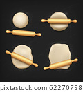 Realistic dough and rolling pin, bread kneading 62270758