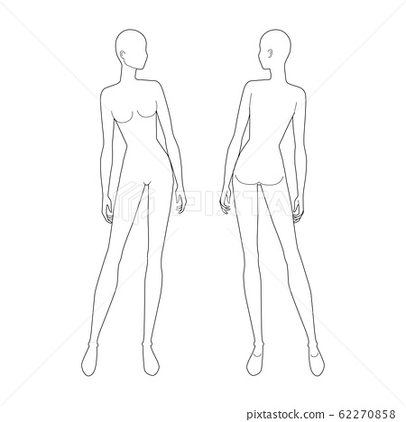 Fashion Template Of Standing Women Stock Illustration 62270858 Pixta