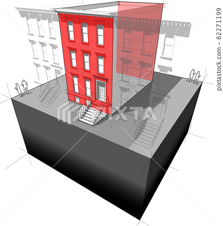 Diagram of a typical american townhouse with additional wall insulation - to improve energy efficiency of the building 62271199