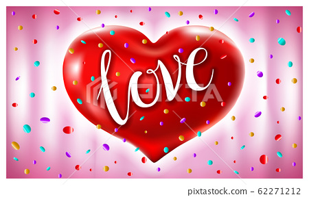 red heart ballons love text vector illustration in 62271212