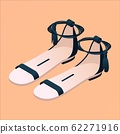 Isometric flat nude and black sandals isolated on 62271916