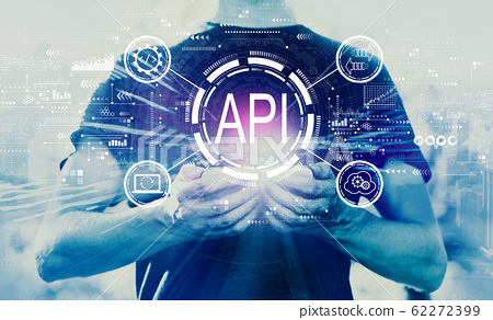 API - application programming interface concept API concept with man holding smartphone 62272399