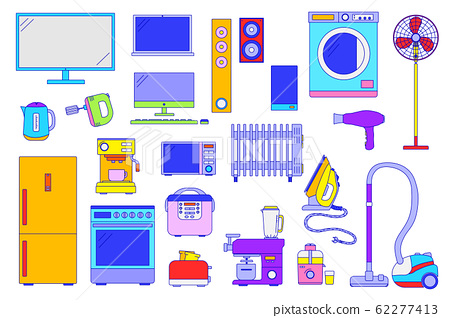 Home electronic appliances, set of isolated household items in flat line style, vector illustration 62277413