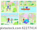 Happy family camping together, people hiking in nature, outdoor activity adventure, vector illustration 62277414