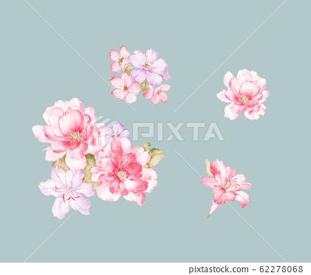 色彩豐富的水彩花卉素材組合 62278068