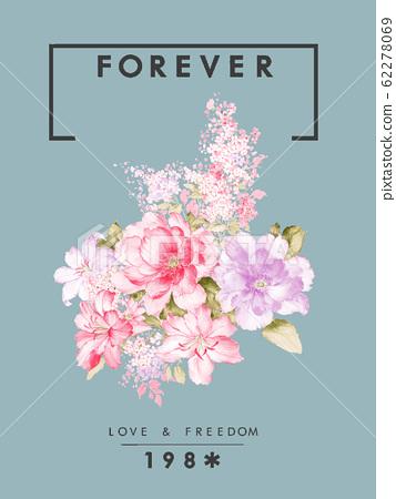 色彩豐富的水彩花卉素材組合 62278069
