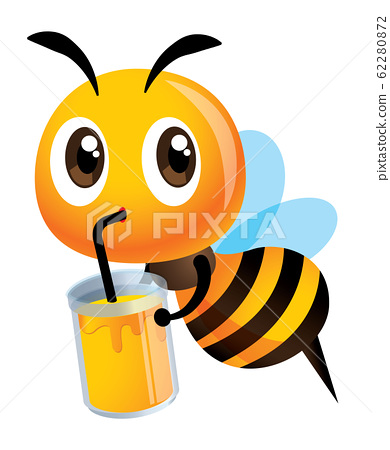 Cartoon cute happy bee drinking a big glass of honey drinks  - Vector bee character 62280872