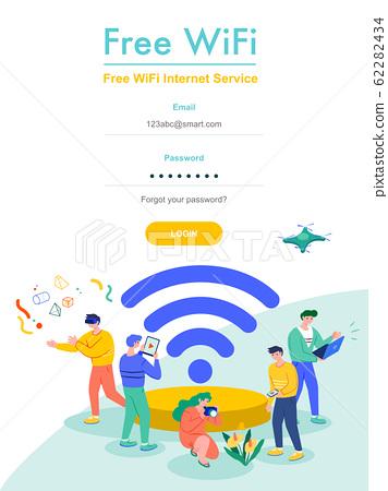 Free Wifi, Mobile Internet Vector Banner Concept. 62282434