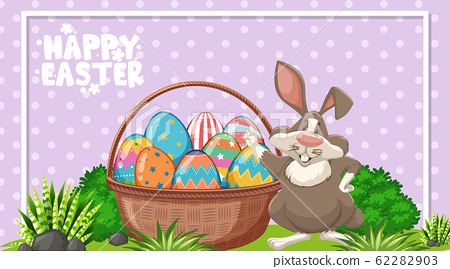 Poster design for easter with easter bunny and 62282903