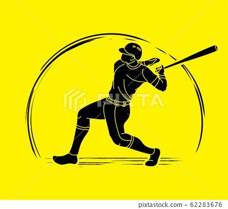 Baseball player action cartoon sport graphic vector. 62283676