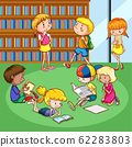 Scene with many children reading books in the room 62283803