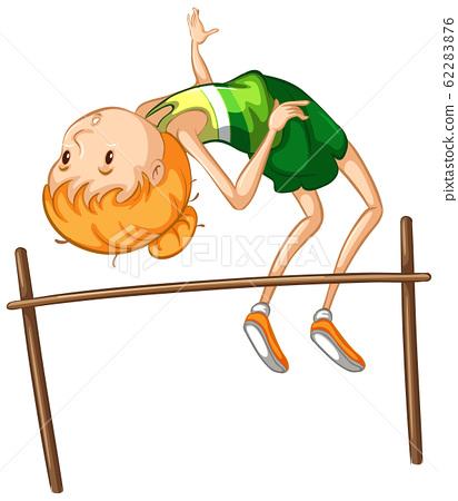 Athlete doing high jump on white background 62283876