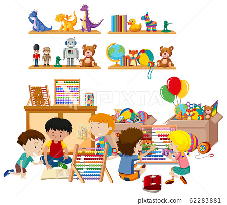 Scene with many kids playing toys in the room 62283881