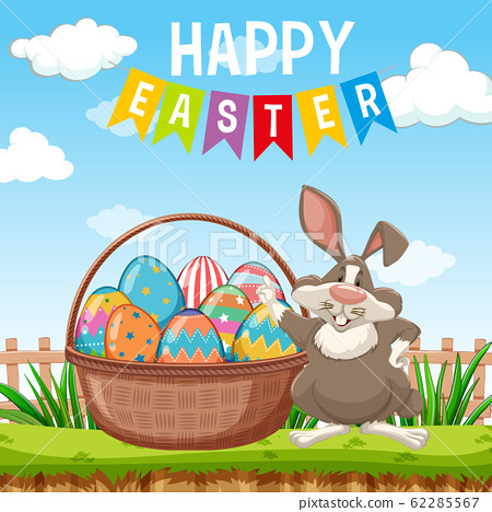 Poster design for easter with easter bunny and 62285567
