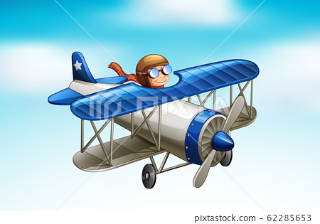 Scene with airplane flying in the sky 62285653