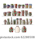 Set of pickle jars with fruits and vegetables 62286508
