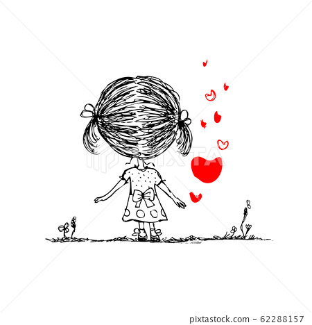 Girl with red heart, valentine card sketch for your design 62288157