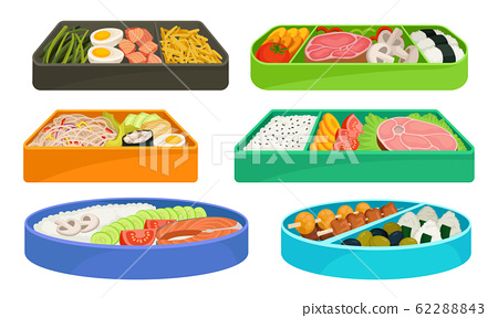 Different Food with Rice and Vegetables Served on Sectional Plate Vector Set 62288843