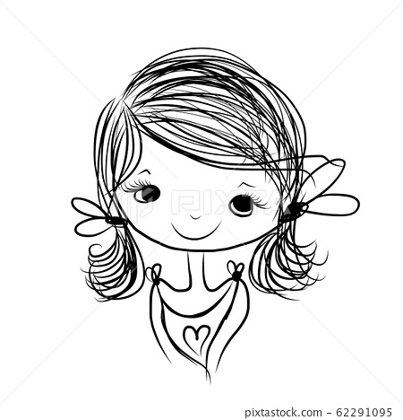 Cute girl smiling, sketch for your design 62291095
