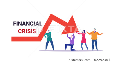 businesspeople team frustrated about economic arrow falling down financial crisis bankrupt investment risk concept business people holding red chart moving downward full length horizontal 62292301