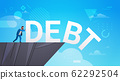 businessman pushing debt in abyss freedom finance crisis concept horizontal full length 62292504
