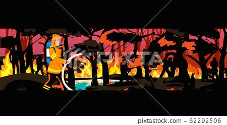 firefighter extinguishing dangerous wildfire in australia fireman spraying water from hose fighting bushfire firefighting natural disaster concept intense orange flames horizontal 62292506