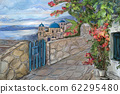 Drawing to the greek town - illustration 62295480