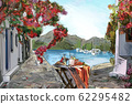 Drawing to the greek town - illustration 62295482