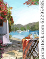 Drawing to the greek town - illustration 62295485