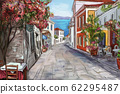 Drawing to the greek town - illustration 62295487