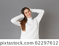 pretty young girl  - gray background 62297612