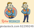 Retro muscular construction worker character, 62299246
