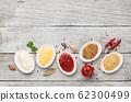 Set of various sauces. Popular sauces in bowls 62300499