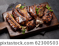 Barbecue beef ribs with bbq sauce sliced 62300503