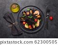 Black seafood spaghetti pasta 62300505