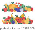 Fruits and vegetables. Doodle food, stack of vegetables and fruits, healthy lifestyle and vegan vitamins diet, natural fruits and greens isolated vector illustration 62301226