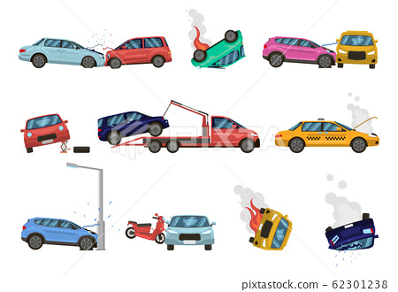 Vehicle damage. Transport crash and dangerous damage, broken, fractured vehicles, different unpleasant situations on city road vector illustration set 62301238