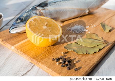Fresh raw mackerel fish with cooking ingridients 62301686