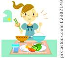 女孩早餐米飯和火腿雞蛋 62302149