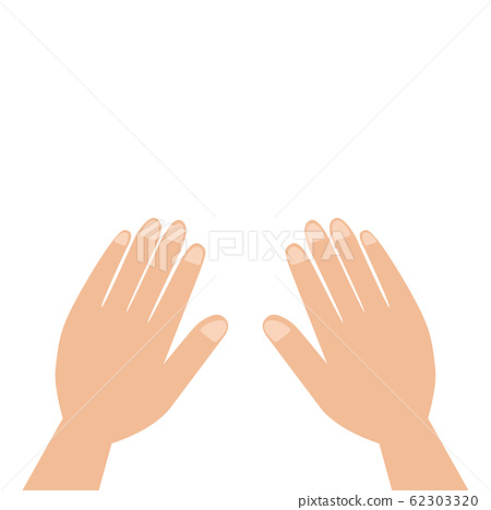 Close up hands isolated on white background. Two palms with fingers. Body part 62303320