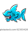 Toothy White Shark Illustration Suitable For 62303428
