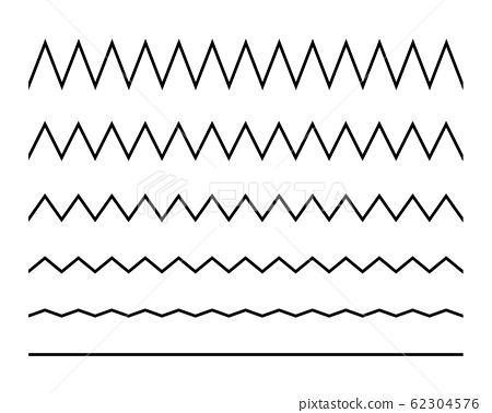 Zigzag seamless wave lines set. Wavy wiggly black horizontal line with edge. Frame underlines stroke. Vector illustration isolated on white 62304576