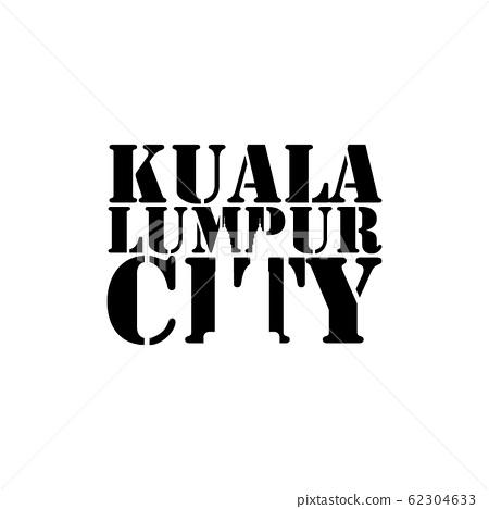 Kuala lumpur city negative space typography logo 62304633