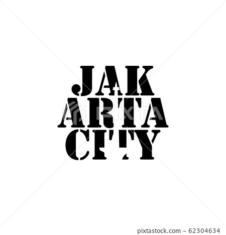 Jakarta city negative space typography logo design 62304634