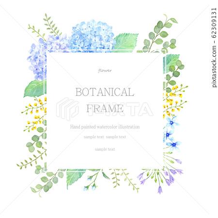 繡球和植物框架水彩插圖 62309131