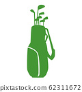 Silhouette illustration of a caddy bag containing a golf club. 62311672