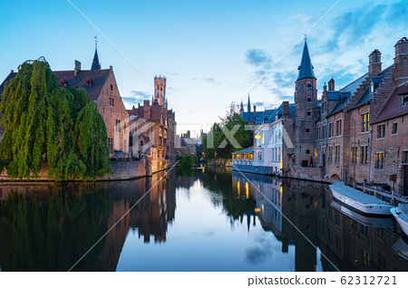 Bruges old town at night in Belgium 62312721