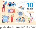 Shopping on Summer Sales Scenes Flat Vectors Set 62315747